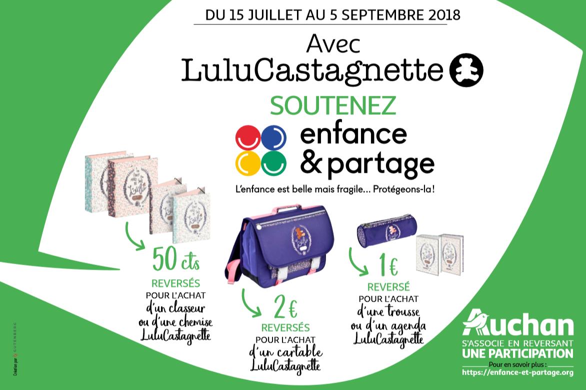 Visuel Pour la rentrée scolaire, LuluCastagnette et Auchan soutiennent Enfance et Partage